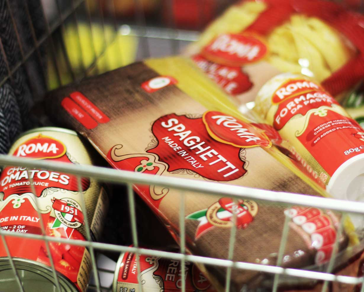 Roma products in a shopping basket