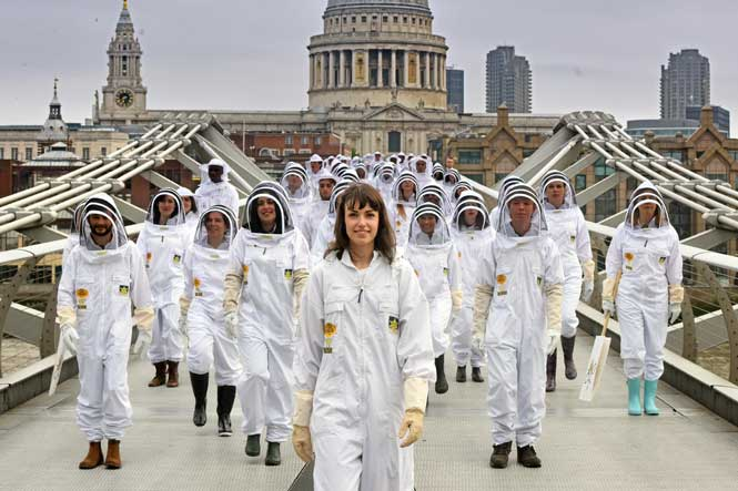 Bee keepers campaign on bridge