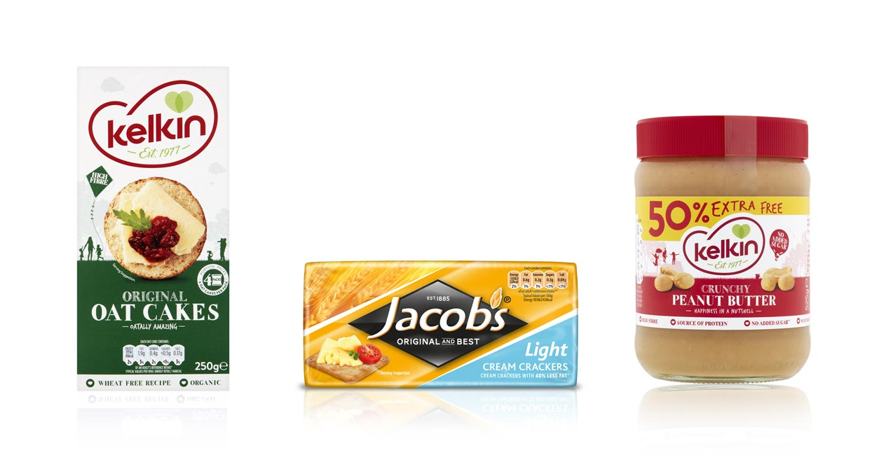 Kelkin Super Seeded Oat Cakes, Jacob's Light Cream Crackers and Kelkin Peanut Butter